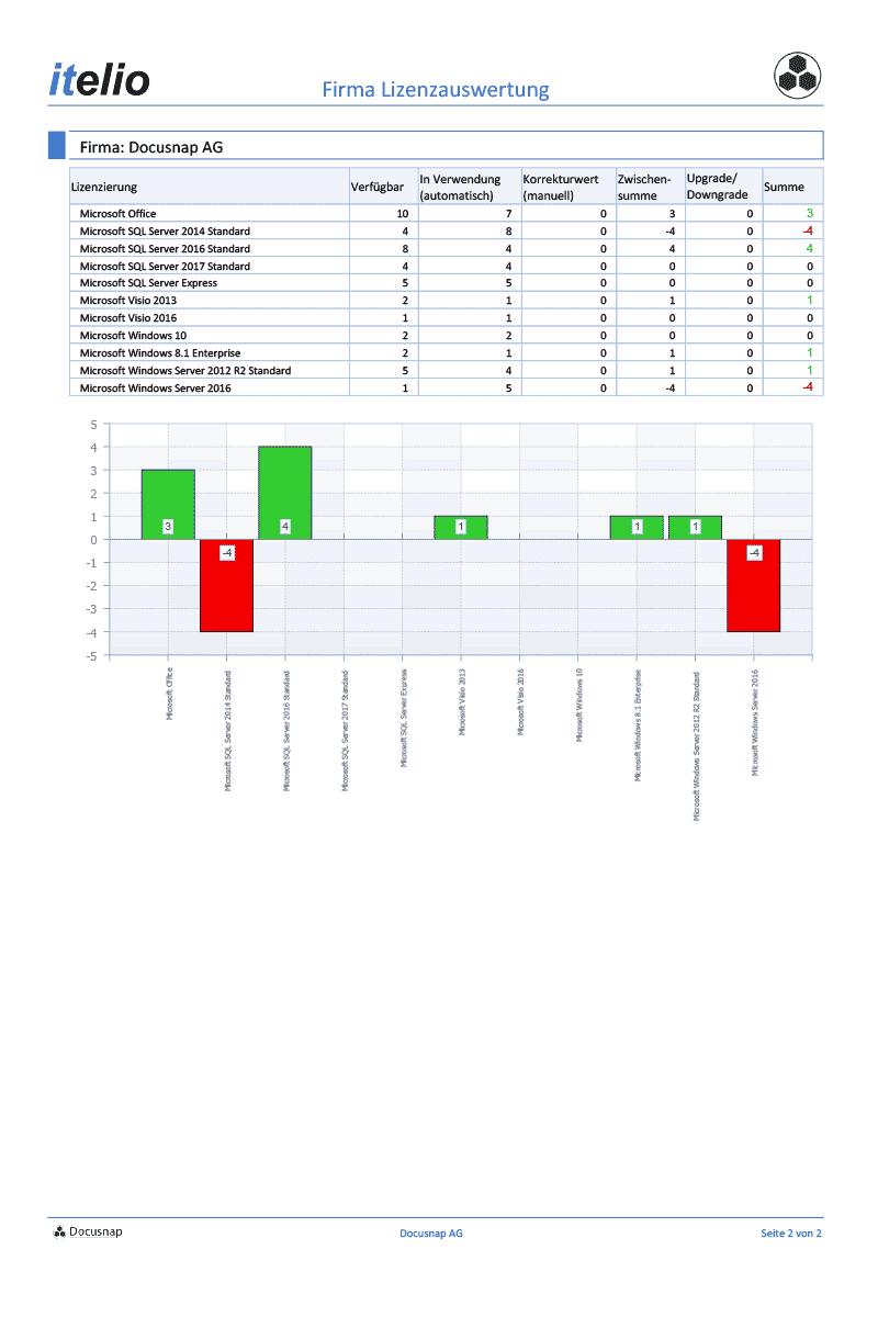 Screenshot: Software-Bericht Firmen Lizenzauswertung