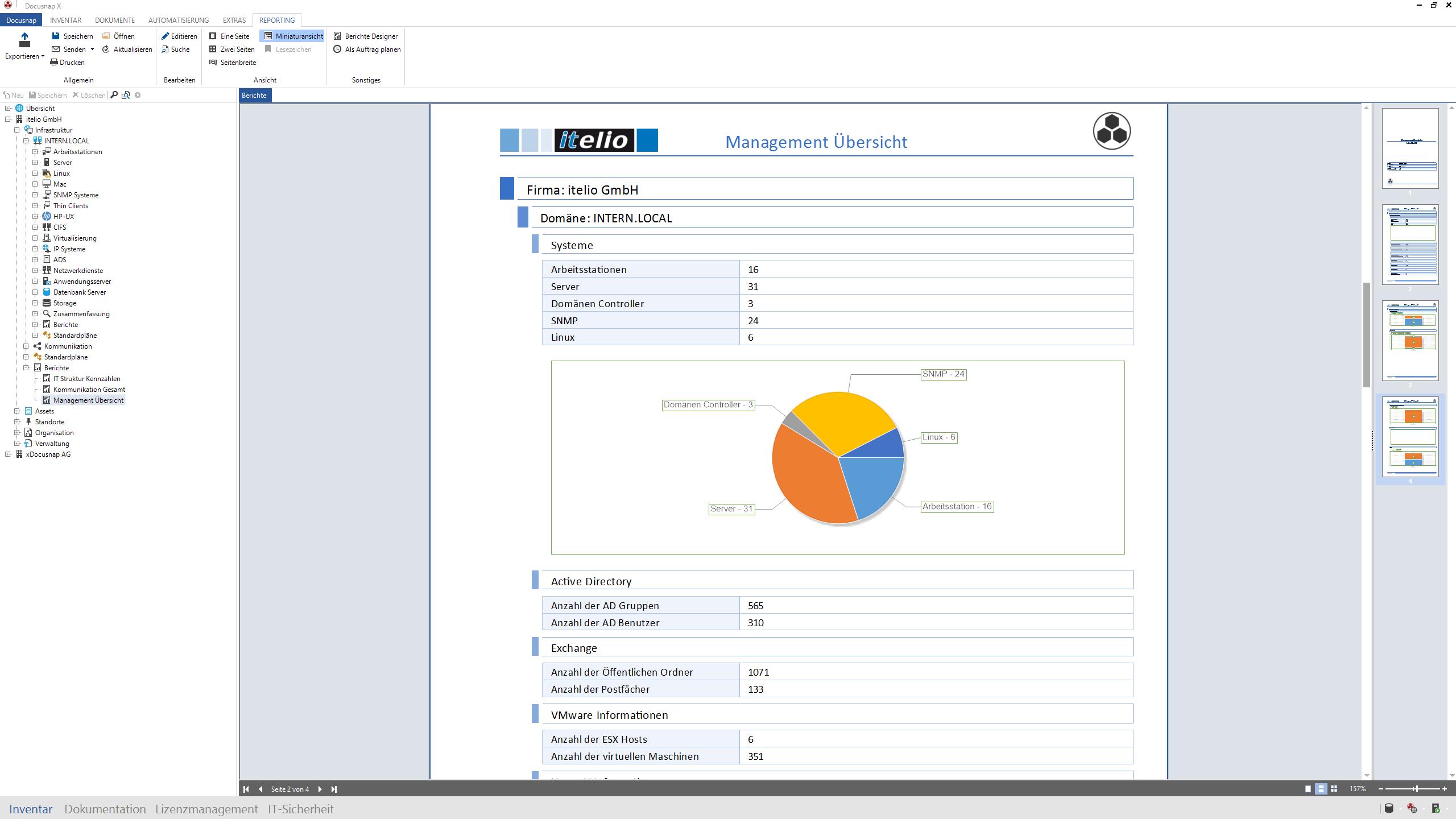 Screenshot: Auswertung von Fakten einer IT-Landschaft
