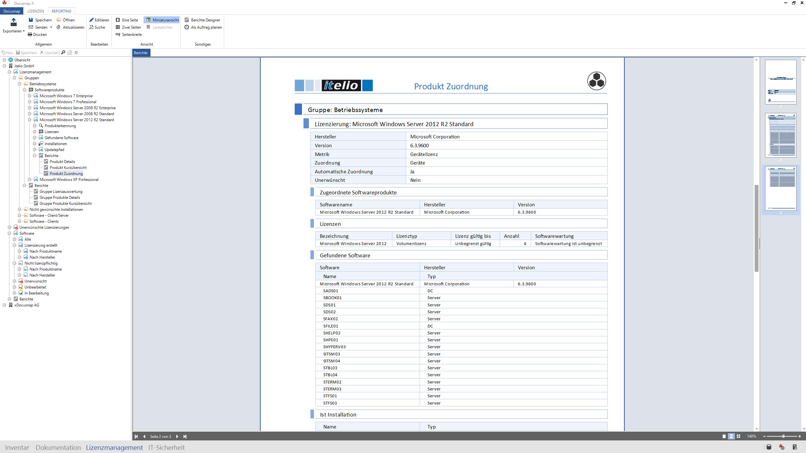 Screenshot: Verwendung und Zuweisung einer Softwarelizenz