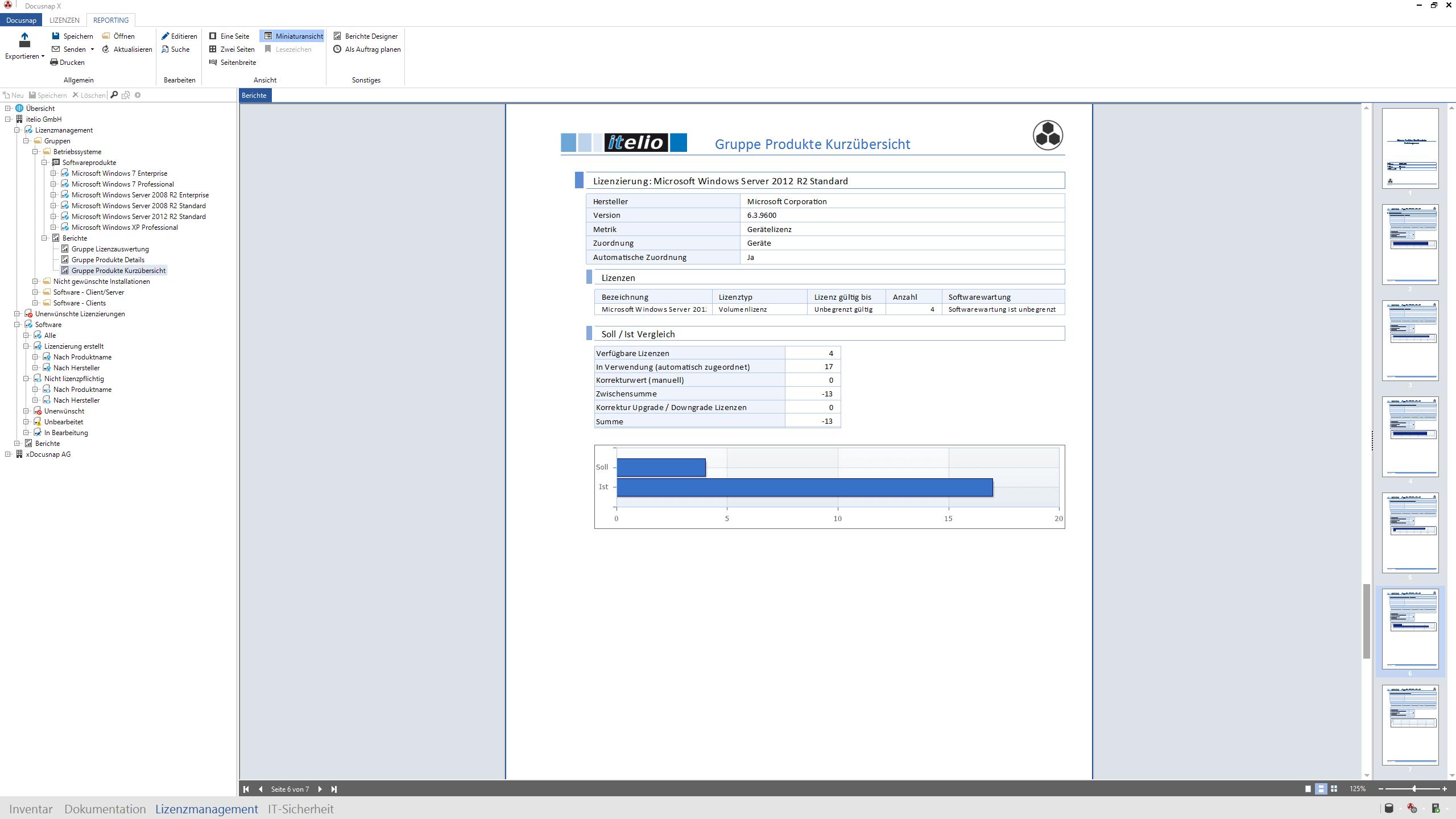 Docusnap X Bericht Produkte Kurzübersicht