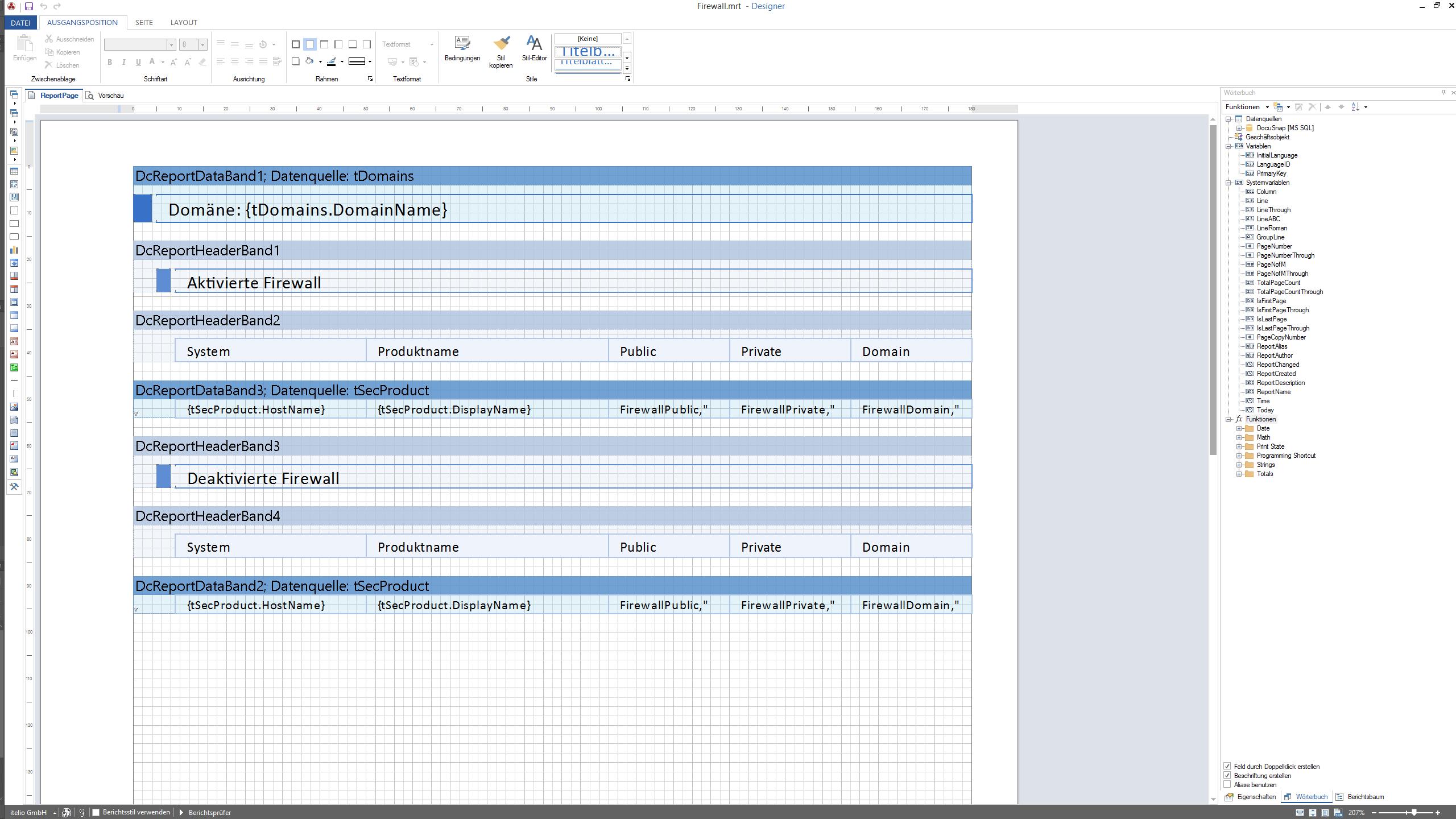 Screenshot: Anpassungen von Berichten im Berichtsdesigner
