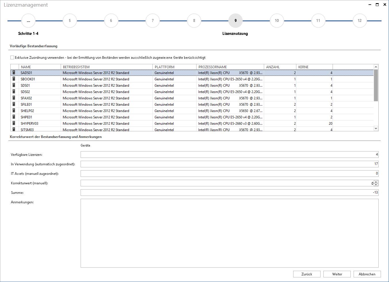 Screenshot: Assistent zur Eingabe von Softwareverträgen