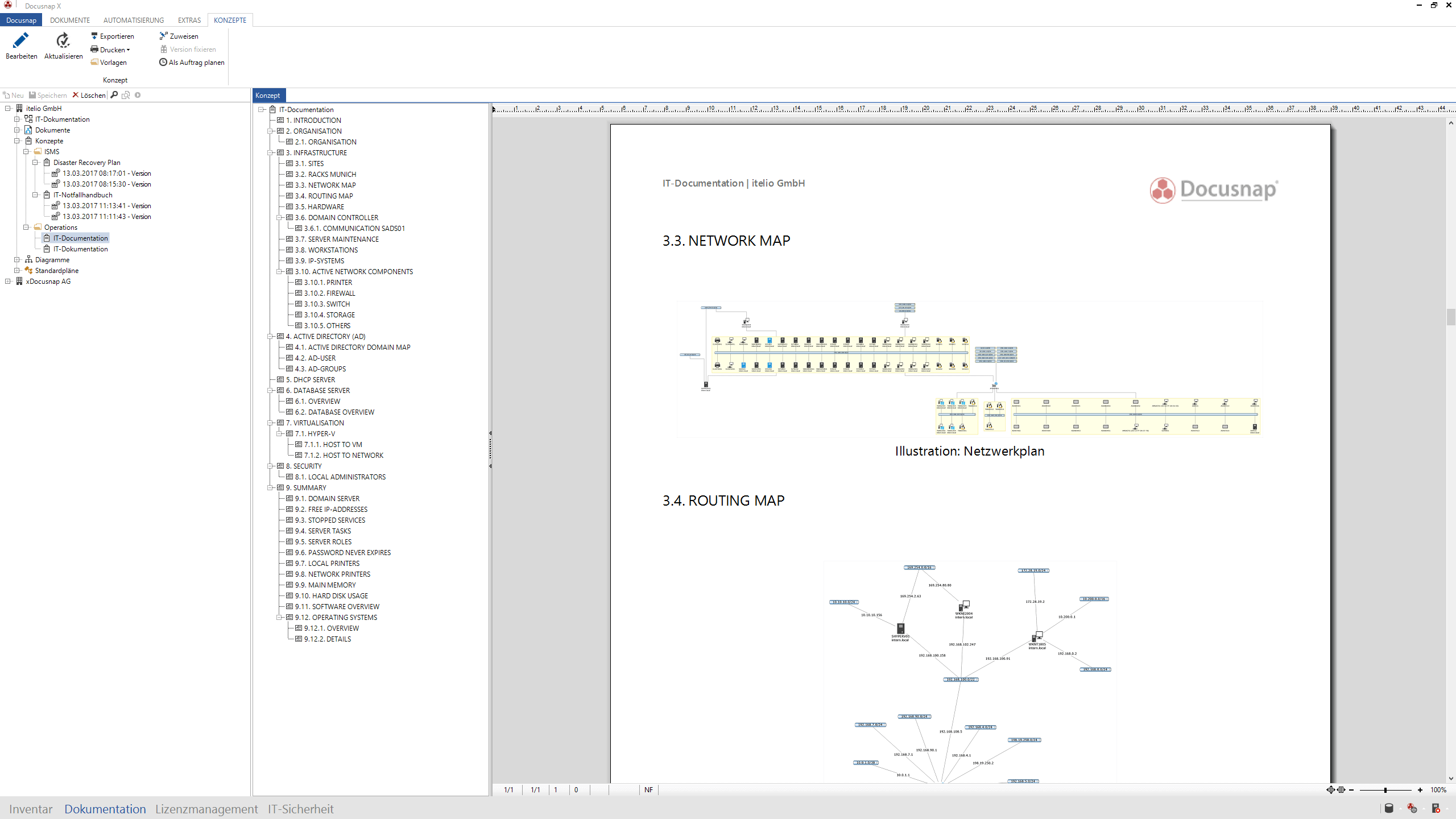 Screenshot: Konzepterstellung mit Diagrammen und Netzwerkplänen