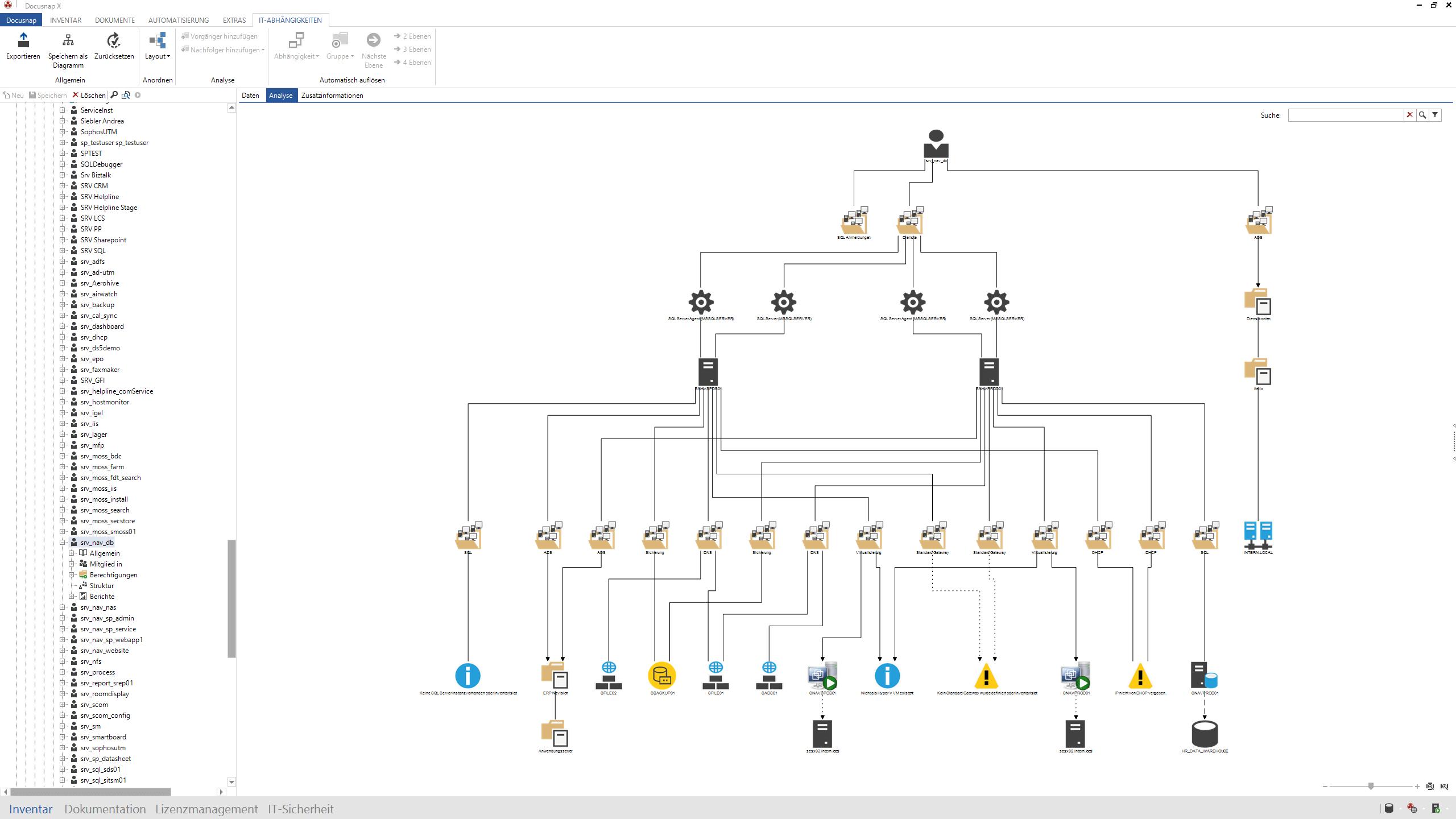 Screenshot: Regelbasierte IT-Abhängigkeiten