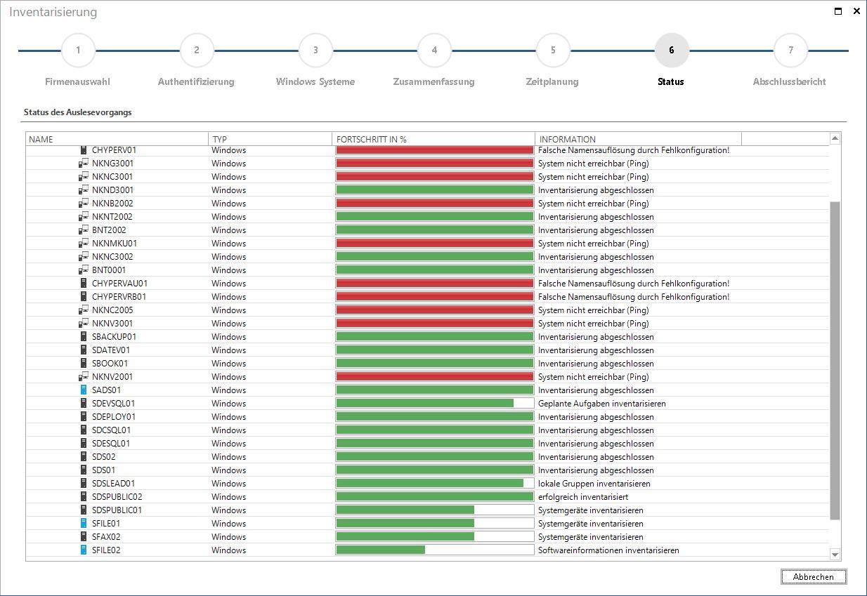 Screenshot: Statusanzeige im Inventarisierungsassistenten