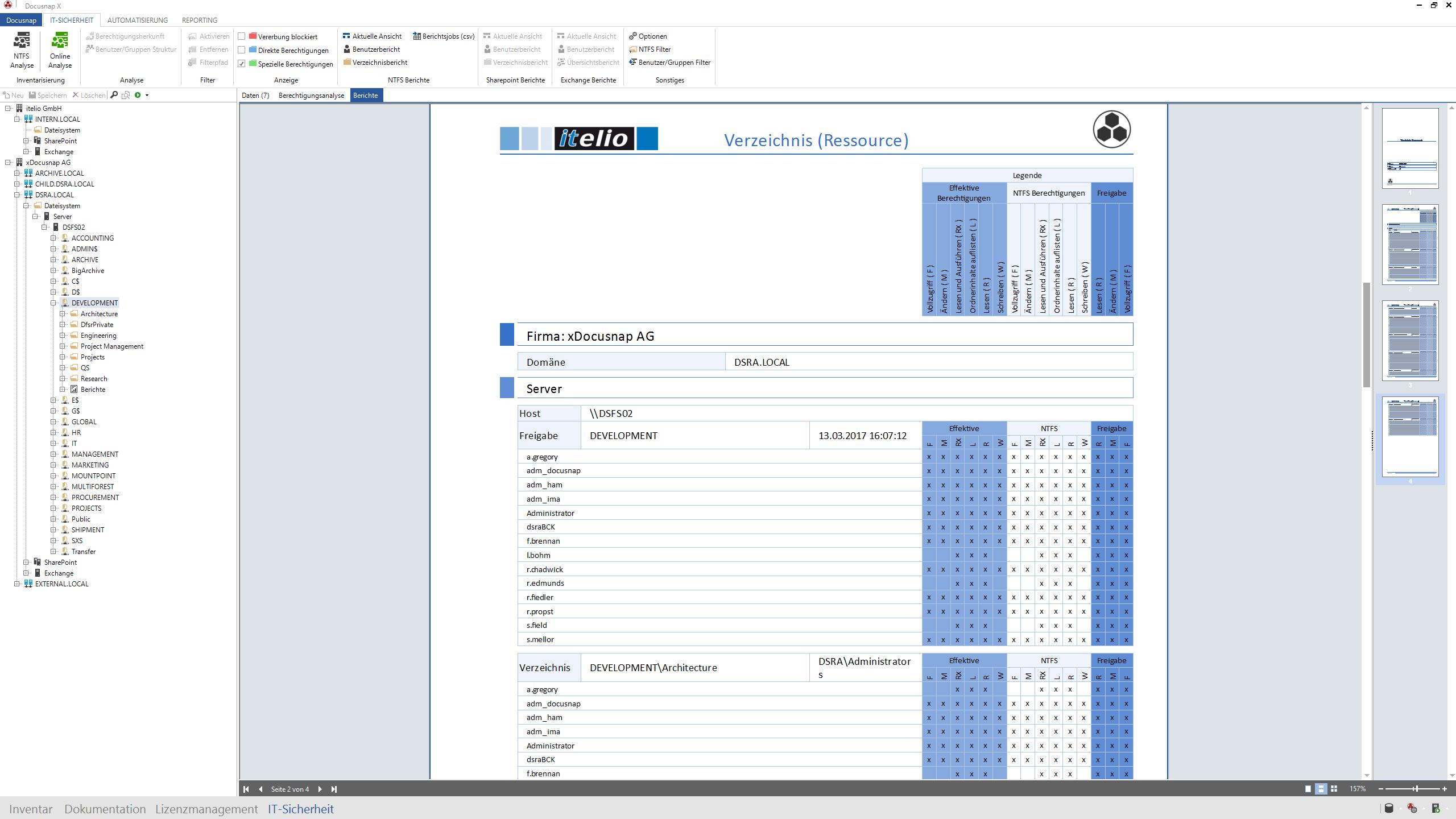 Screenshot: Benutzerbericht über Zugriffe auf bestimmte Verzeichnisse