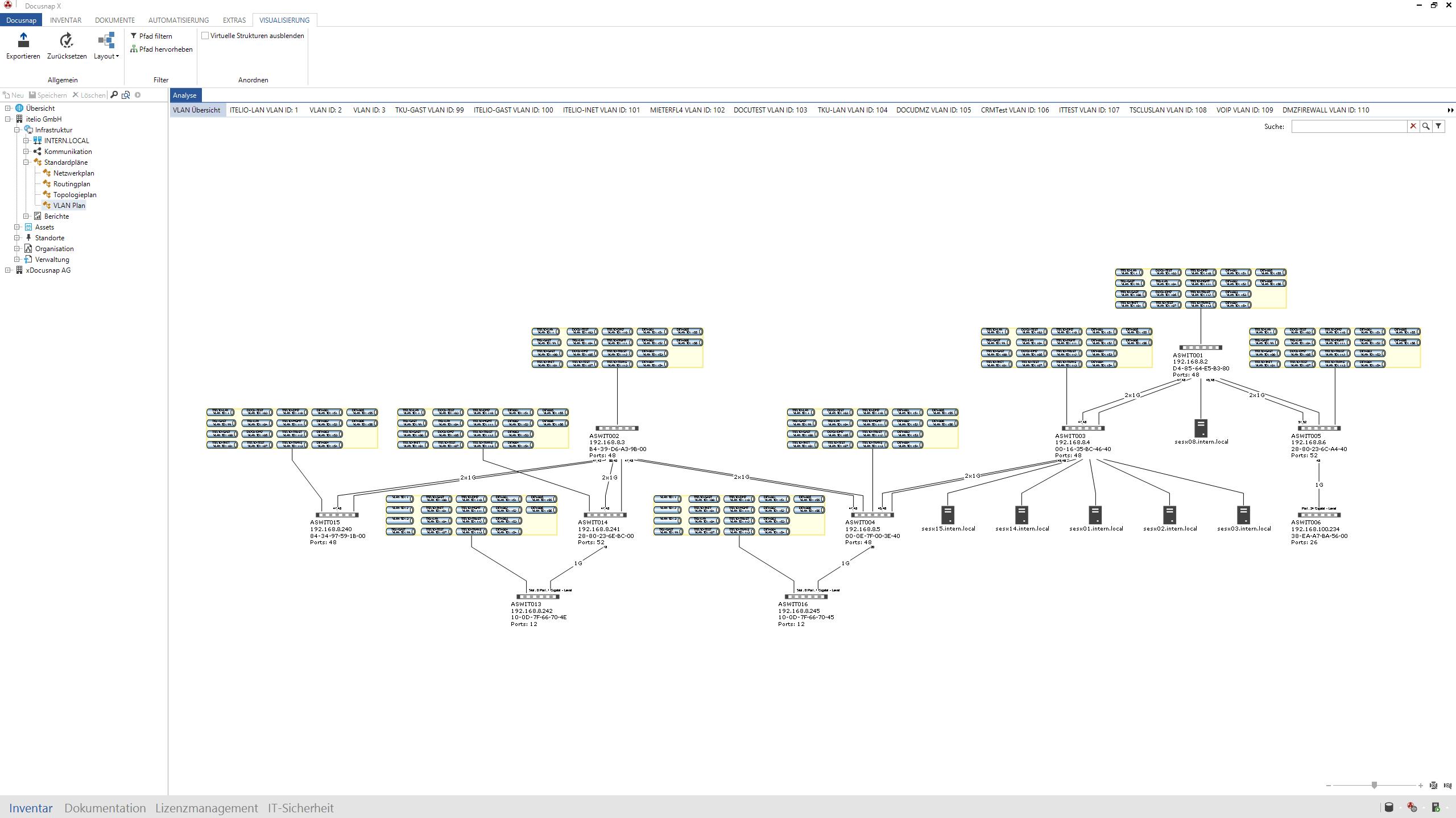 Visualisierung von automatisch inventarisierten VLANs