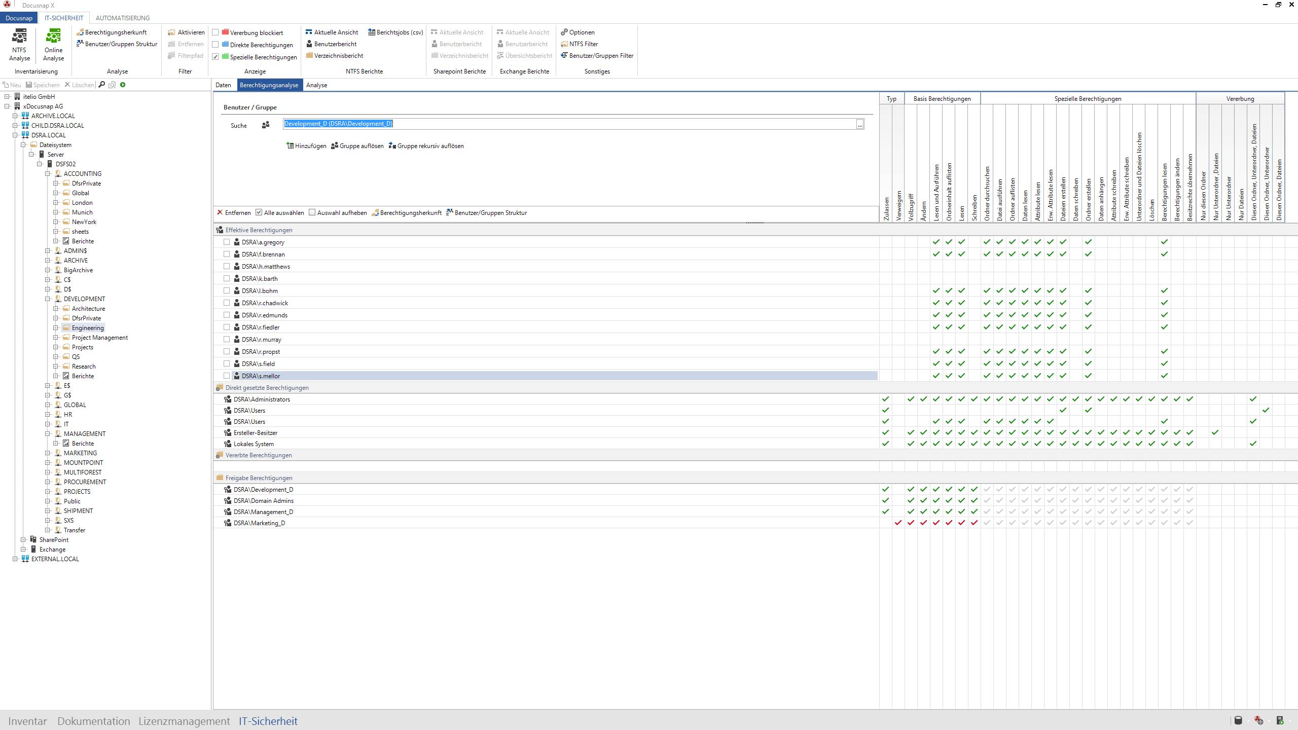 Screenshot: Analyse von Verzeichnisberechtigungen