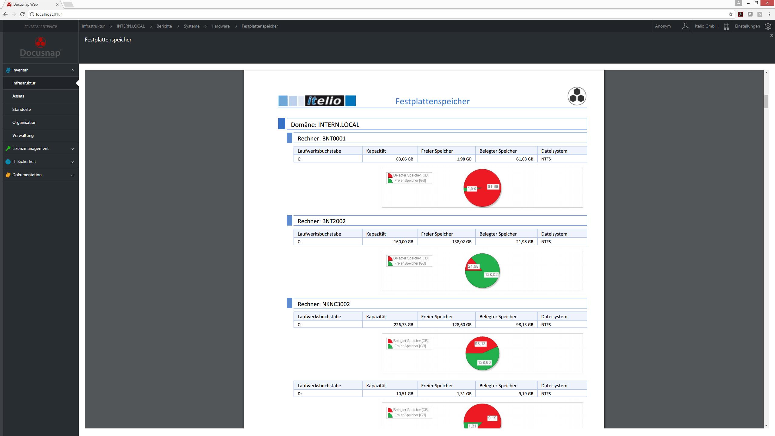 Screenshot: Festplattenspeicher Berichtsausgabe im Docusnap Webclient