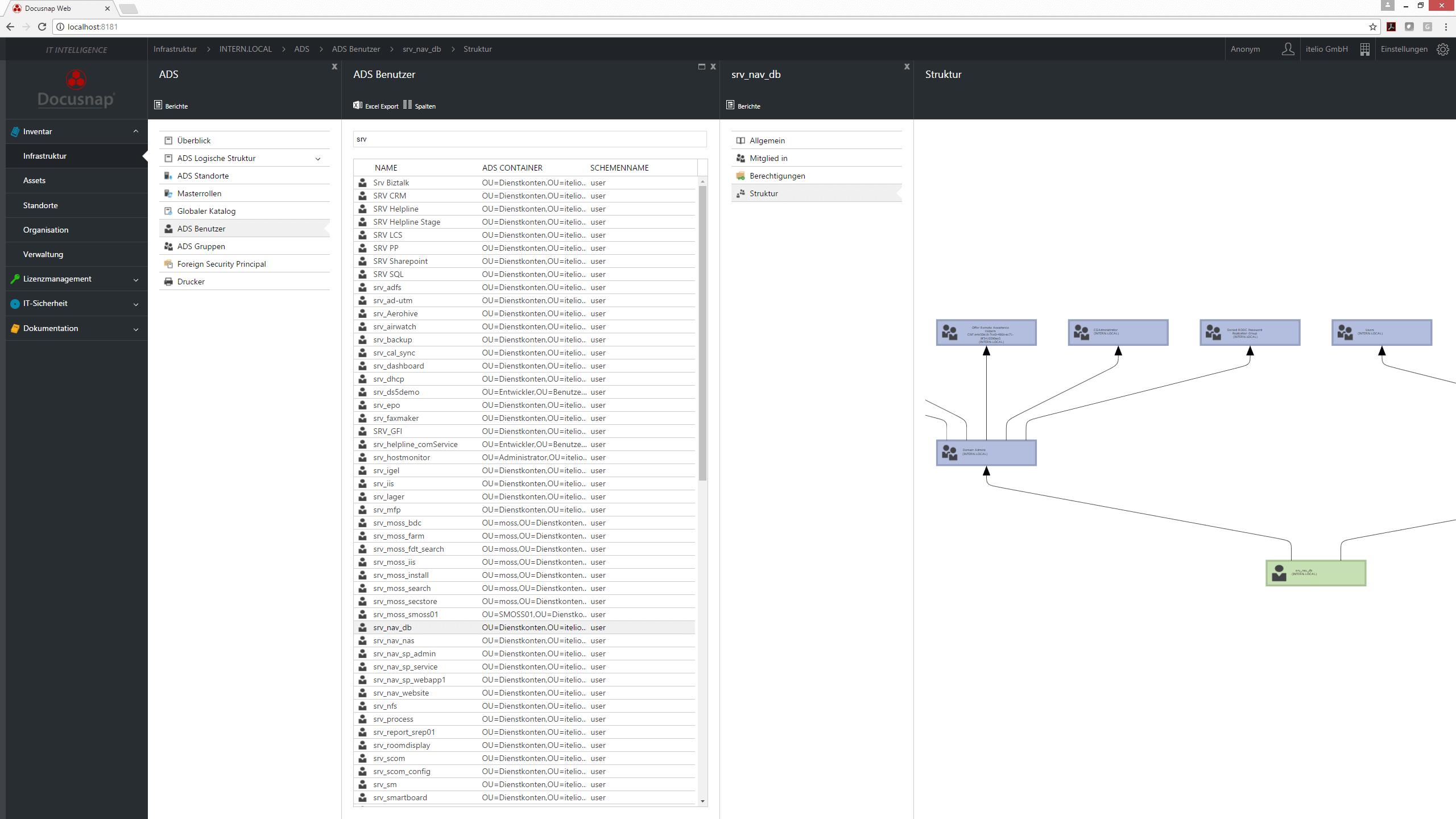 Screenshot: Darstellung von Grupenmitgliedschaften im Docusnap Web Client