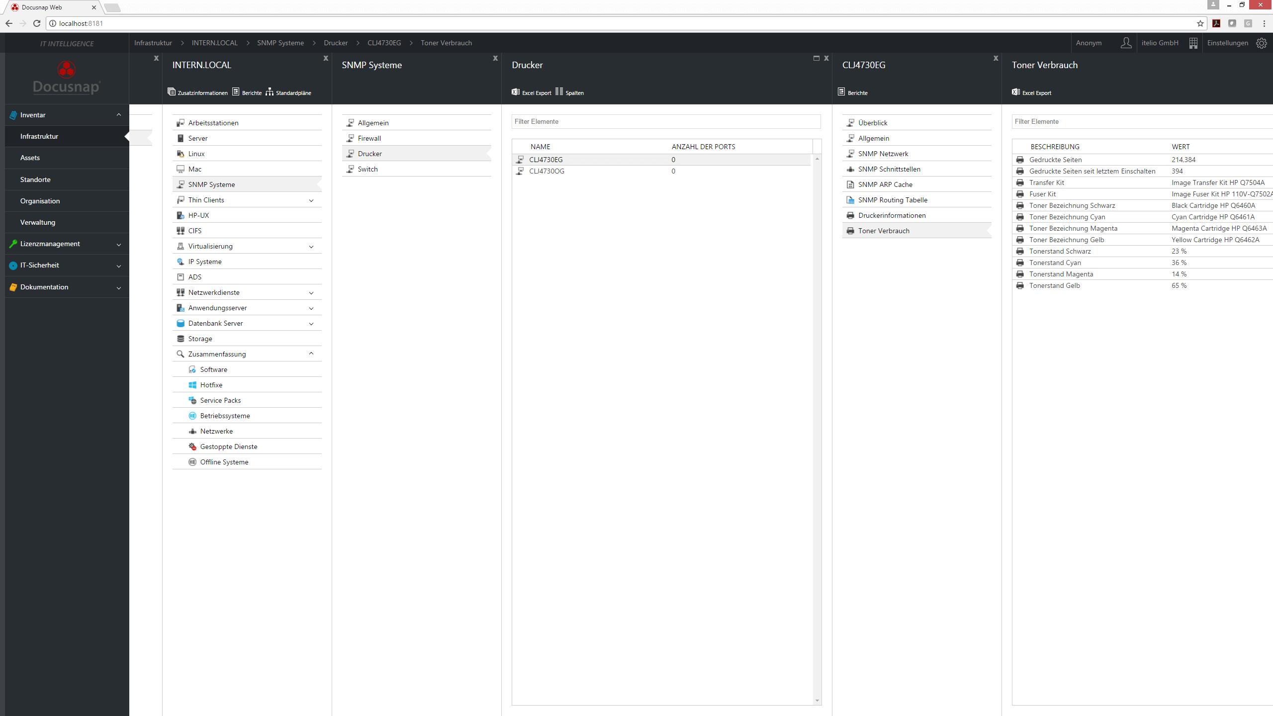 Screenshot: Ansicht des Toner Verbrauchs im Docusnap Webclient