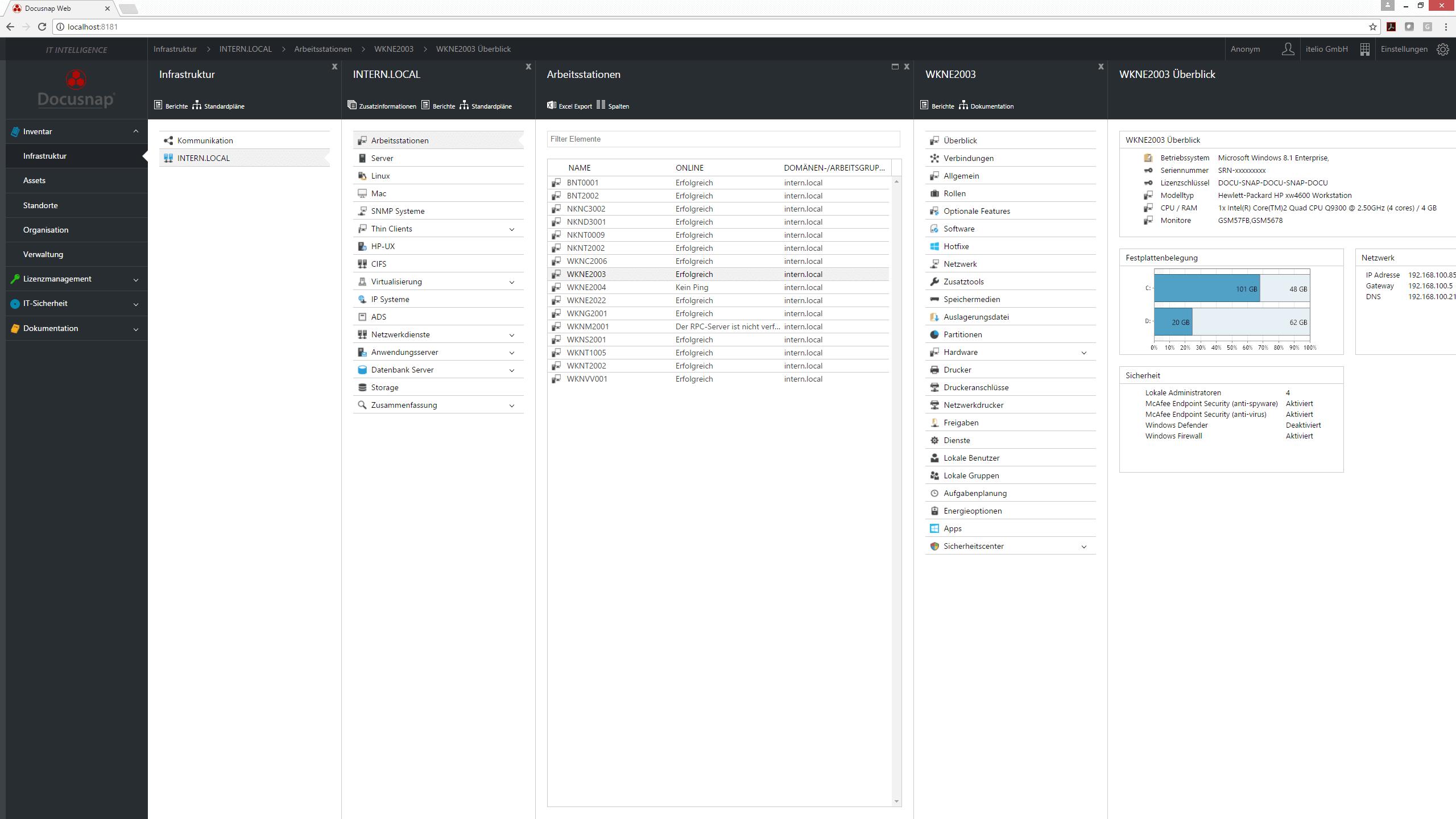 Screenshot: Anzeige inventarisierter Daten einer Arbeitsstation im Docusnap Web Client