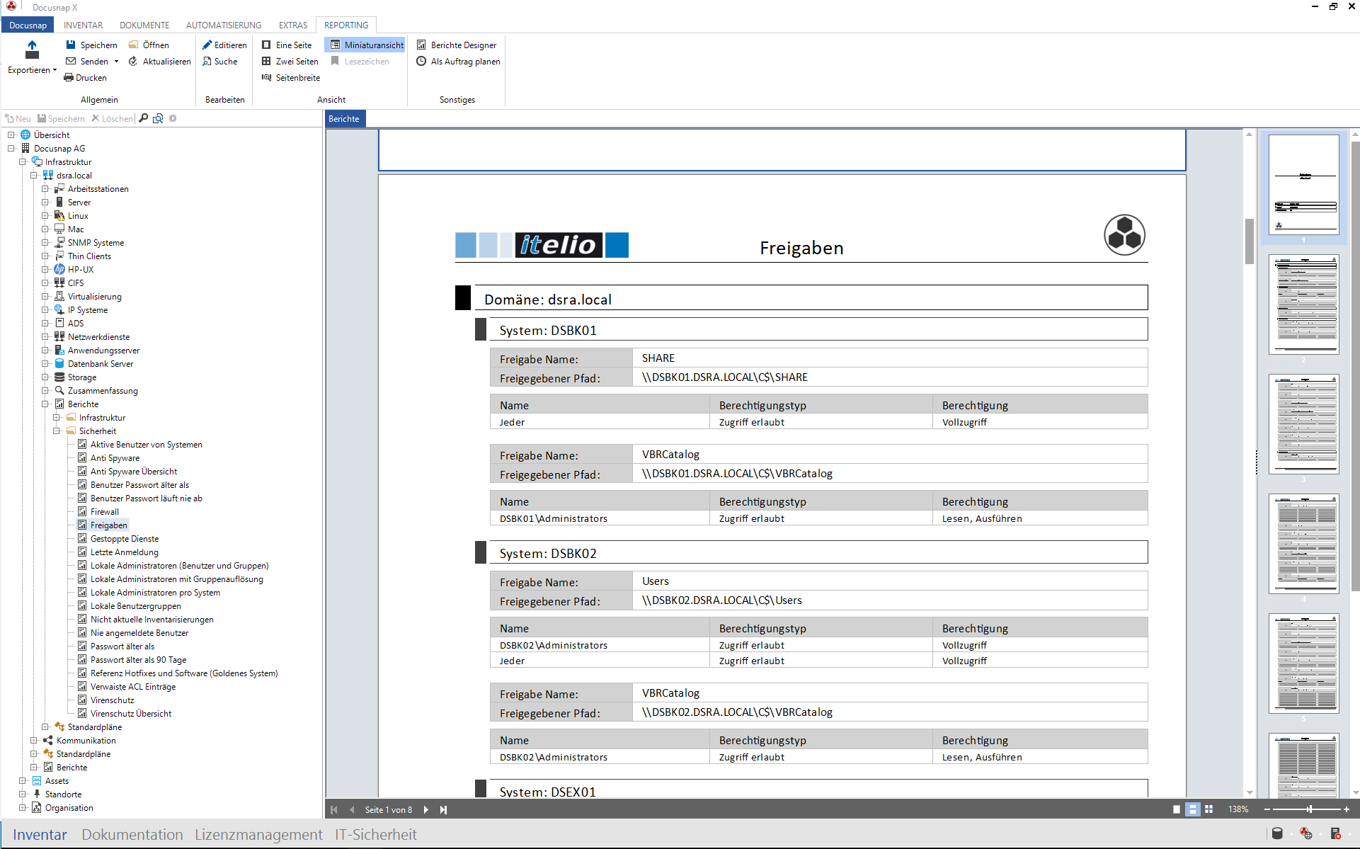 Screenshot des Berichtes Auflistung der Freigaben