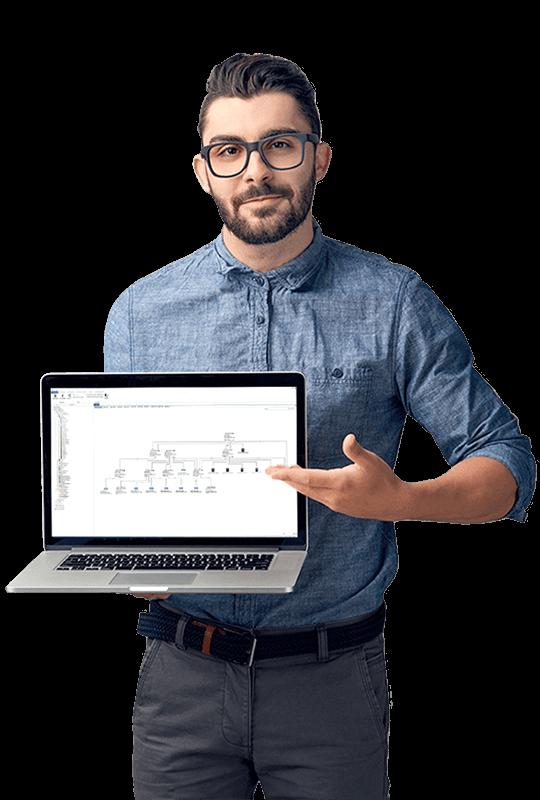 Mann hält Laptop mit Docusnap Screenshot
