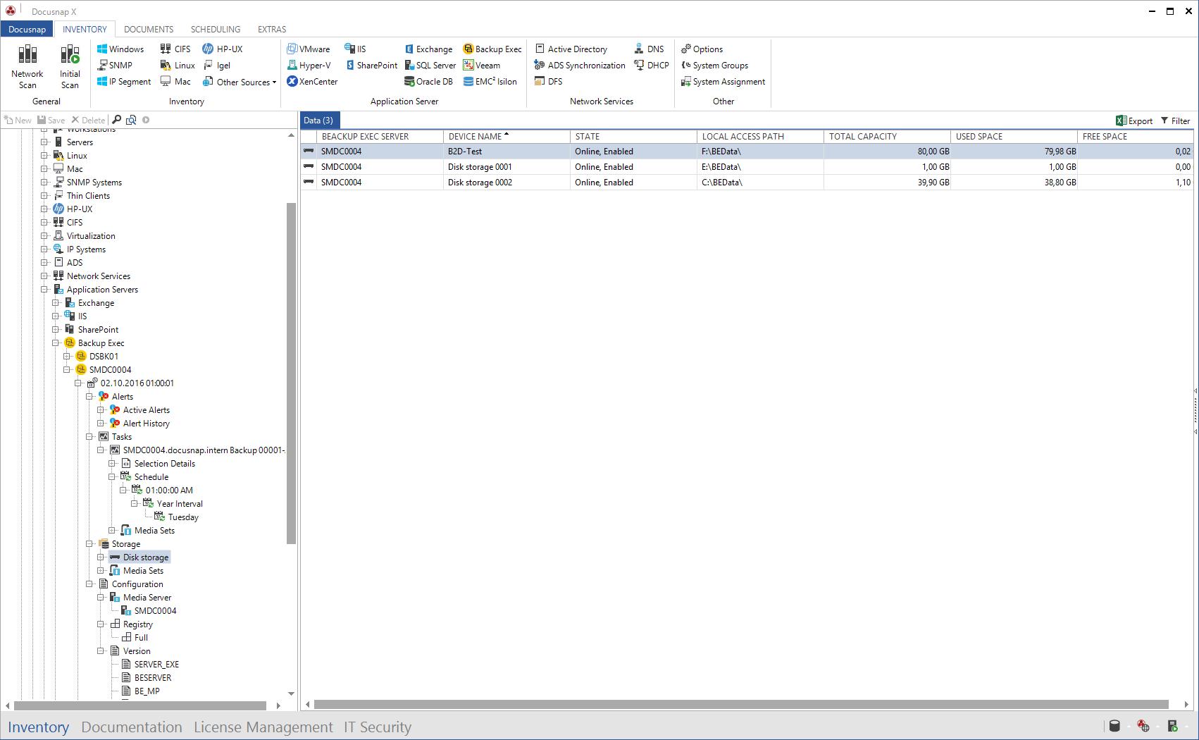 Screenshot: Backup Exec