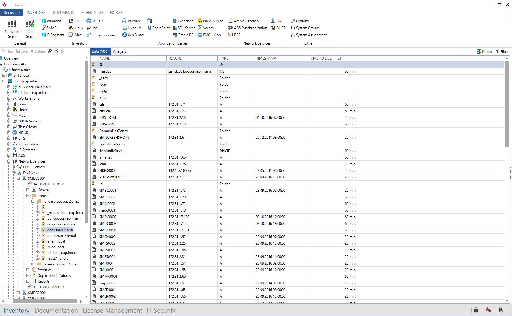 Screenshot: Data Explorer DNS