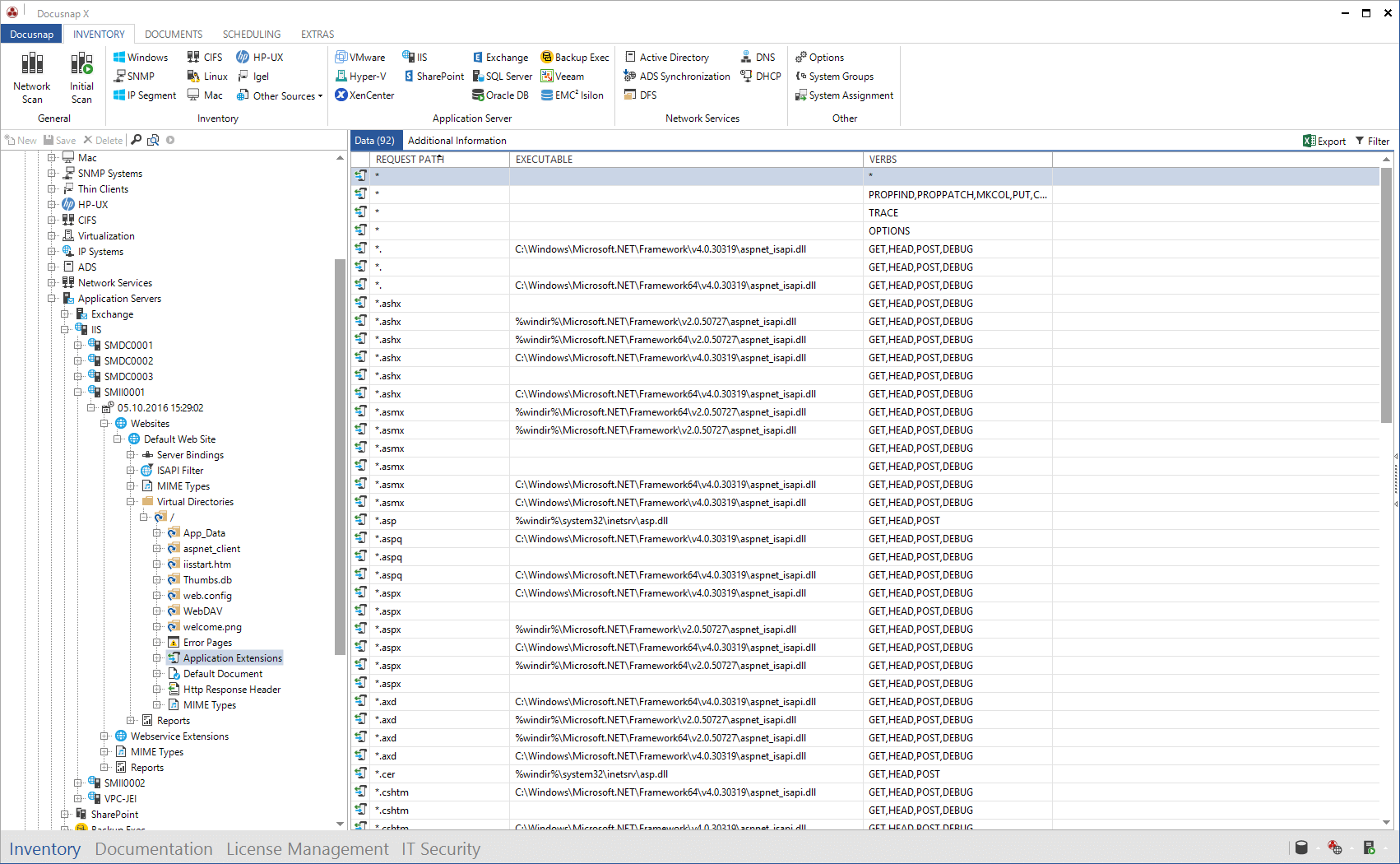 Screenshot: Data Explorer IIS