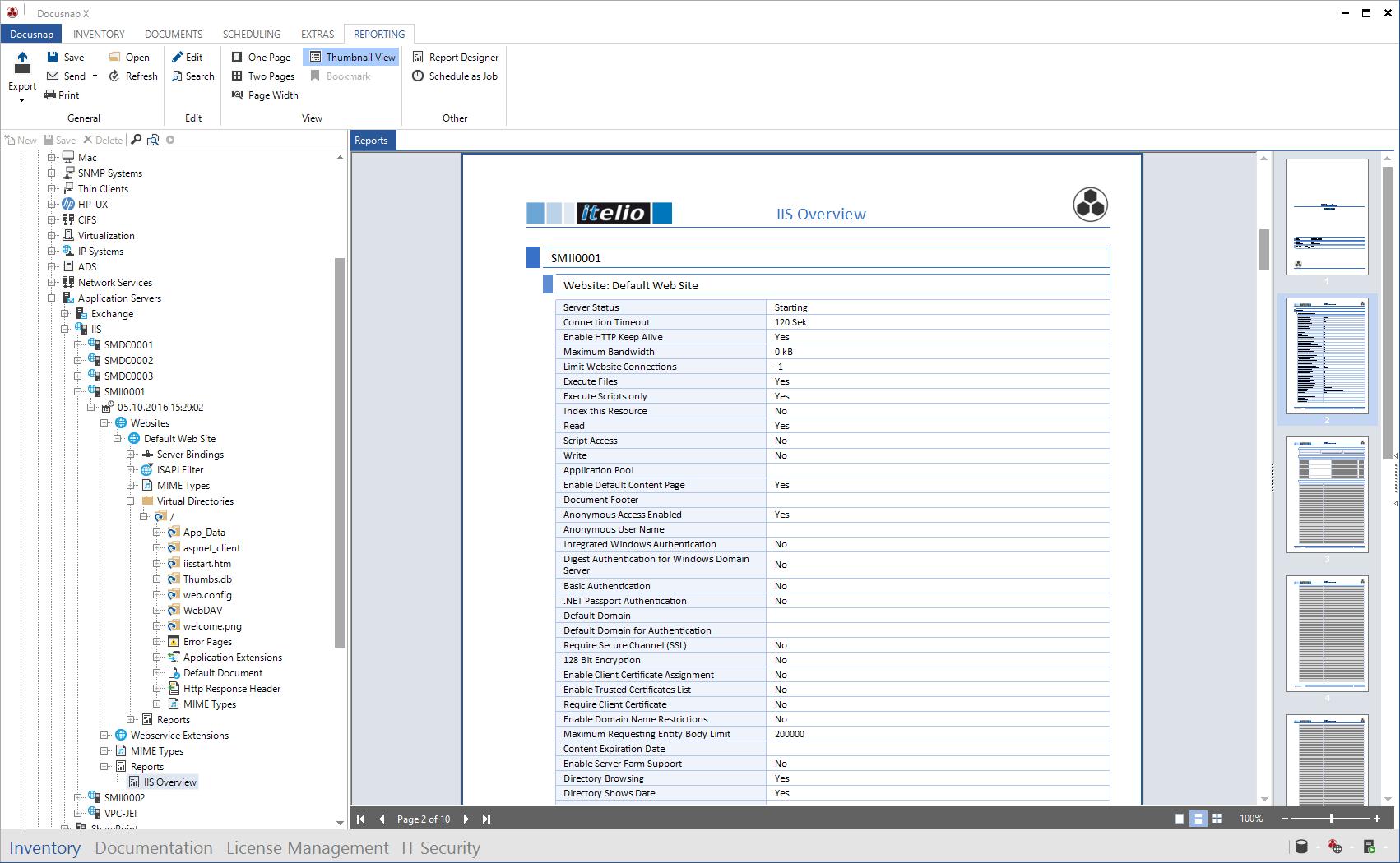 Screenshot: IIS Overview