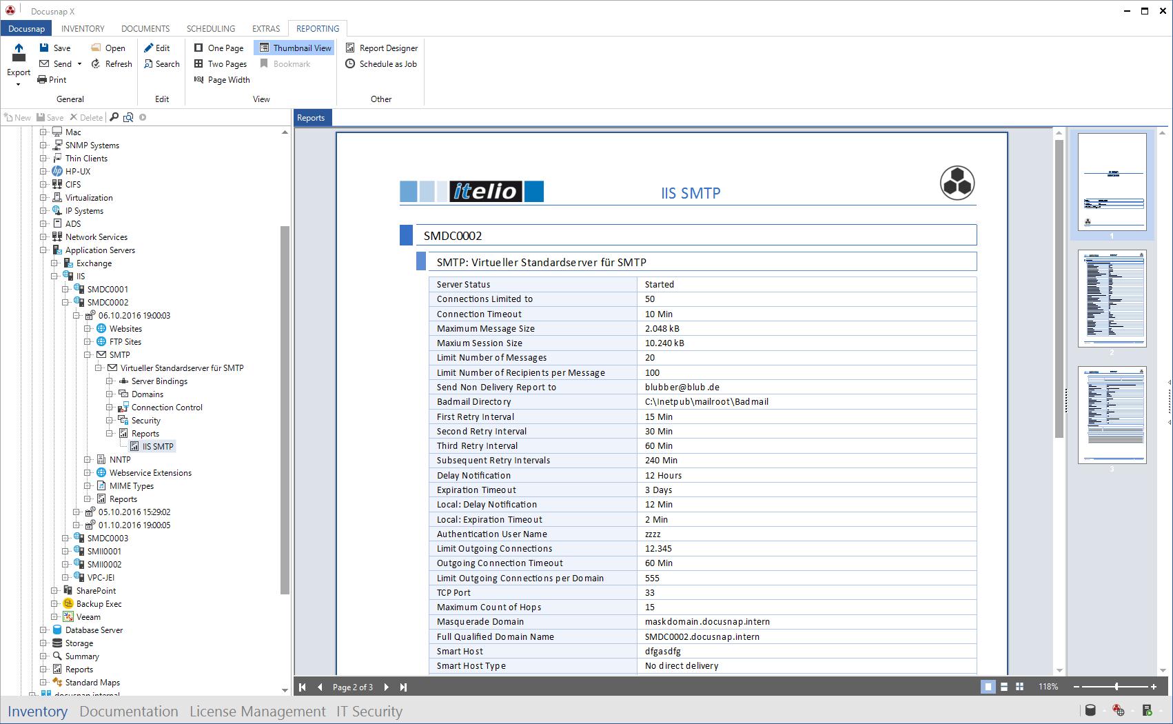 Screenshot: Report IIS SMTP