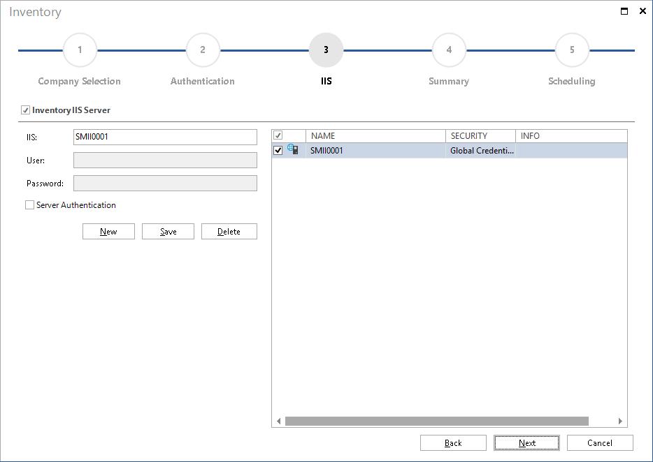 Screenshot: IIS Server Inventory