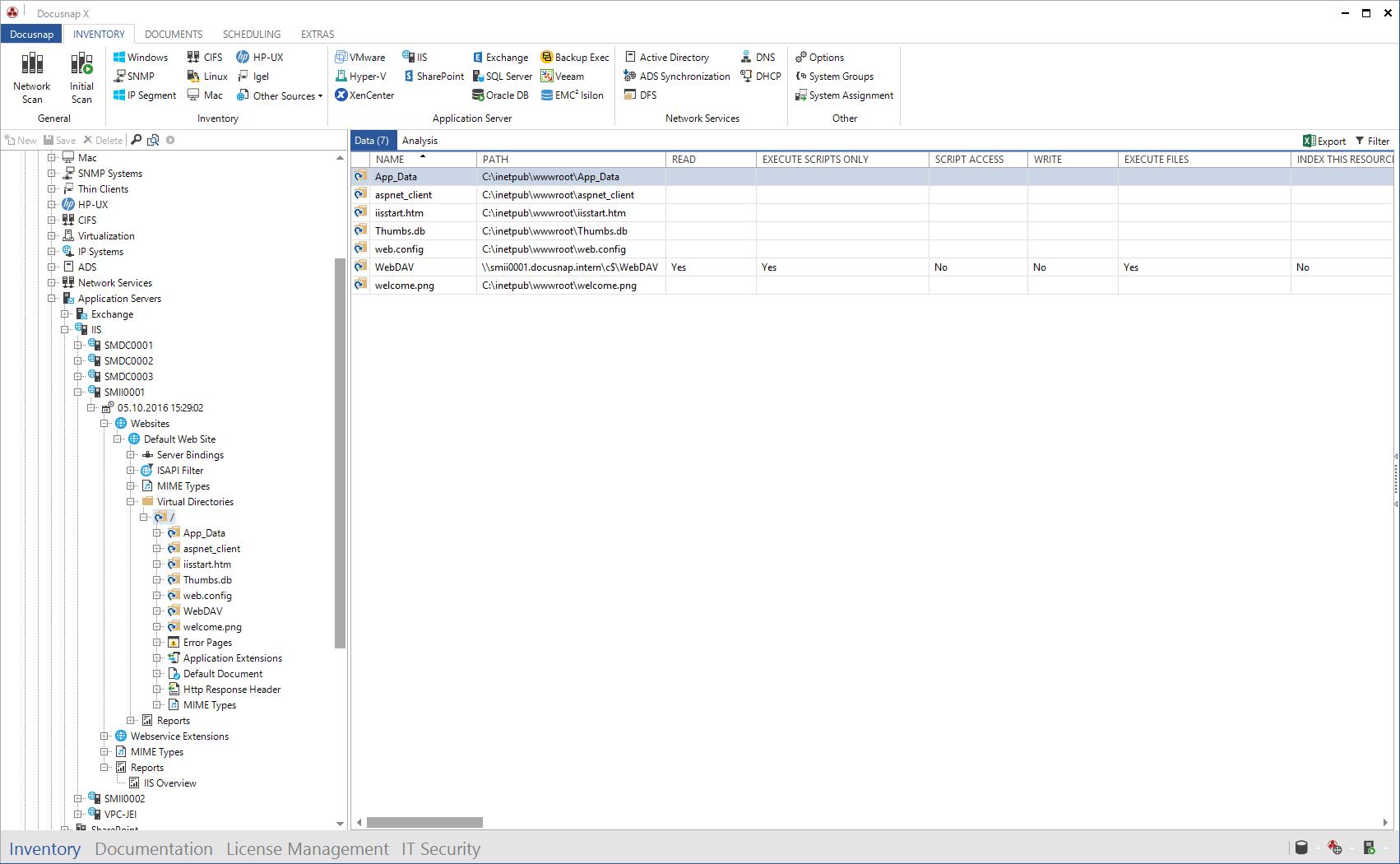 Screenshot: IIS Virtual Directories