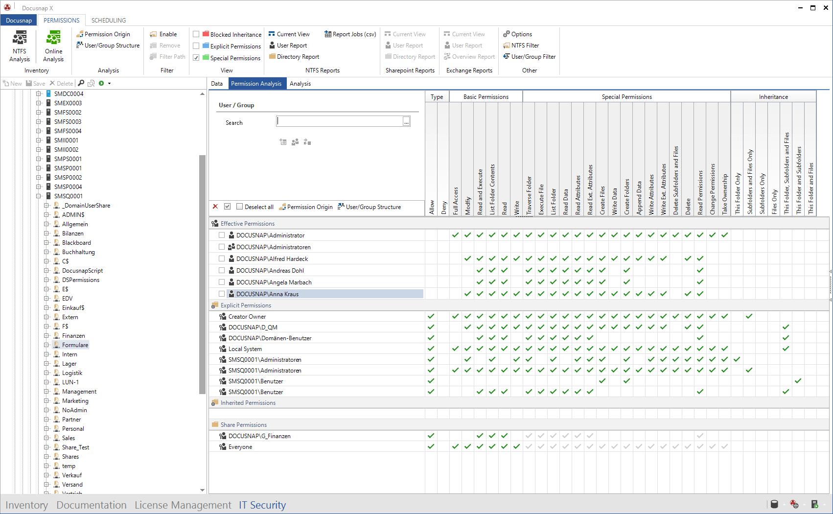 Screenshot: Permission Analysis Matrix