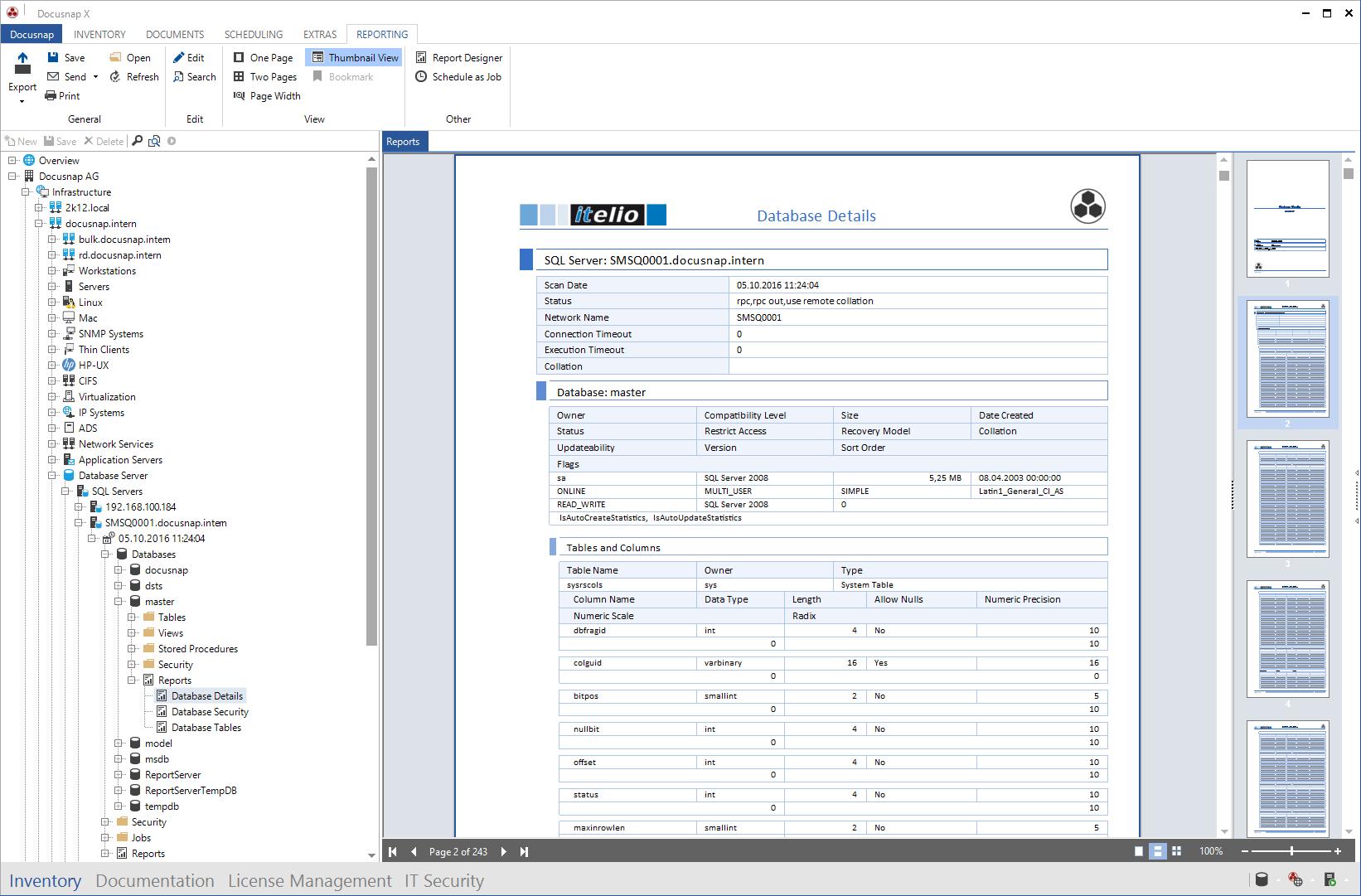 Report Database Details