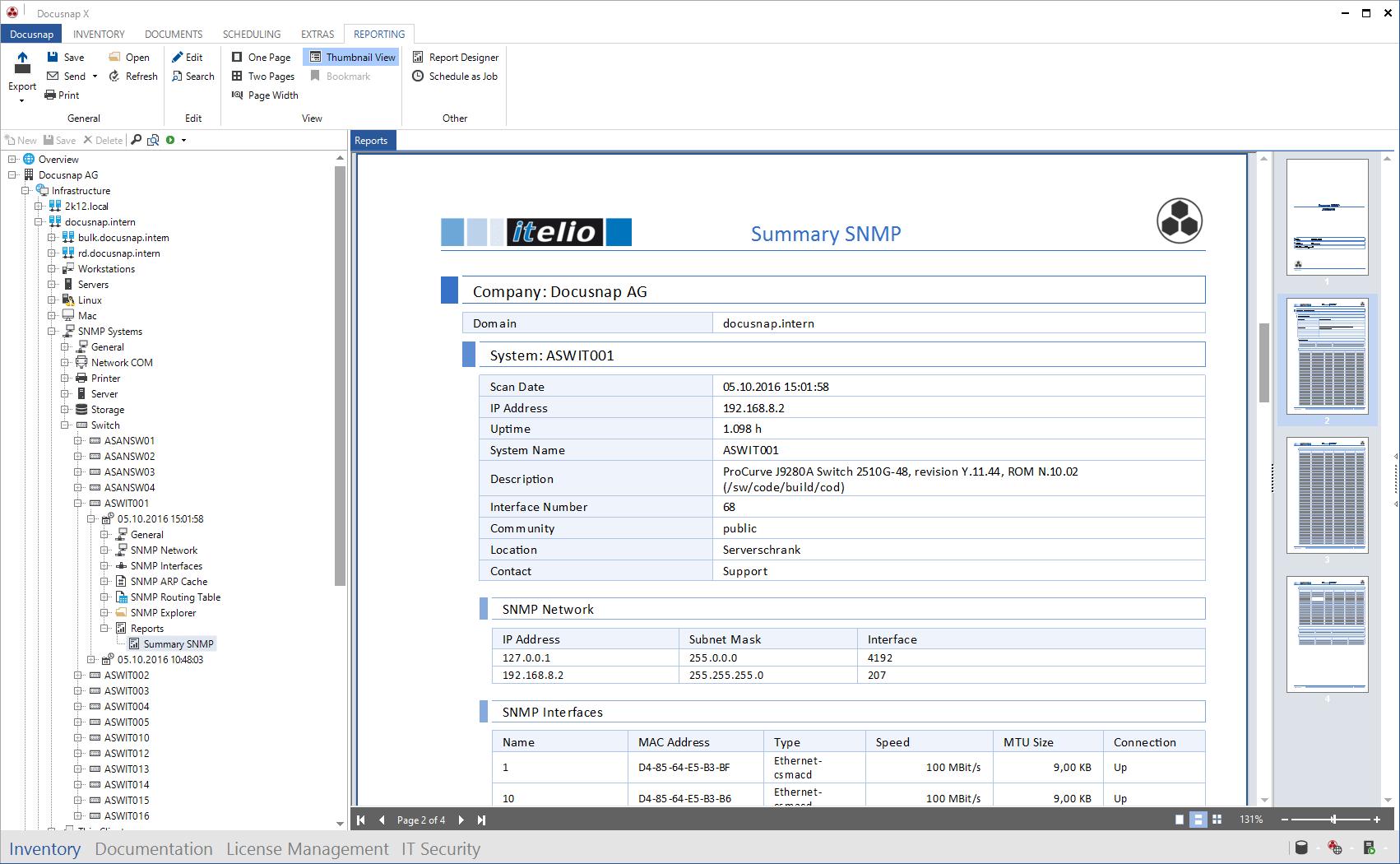 Screenshot: SNMP Report