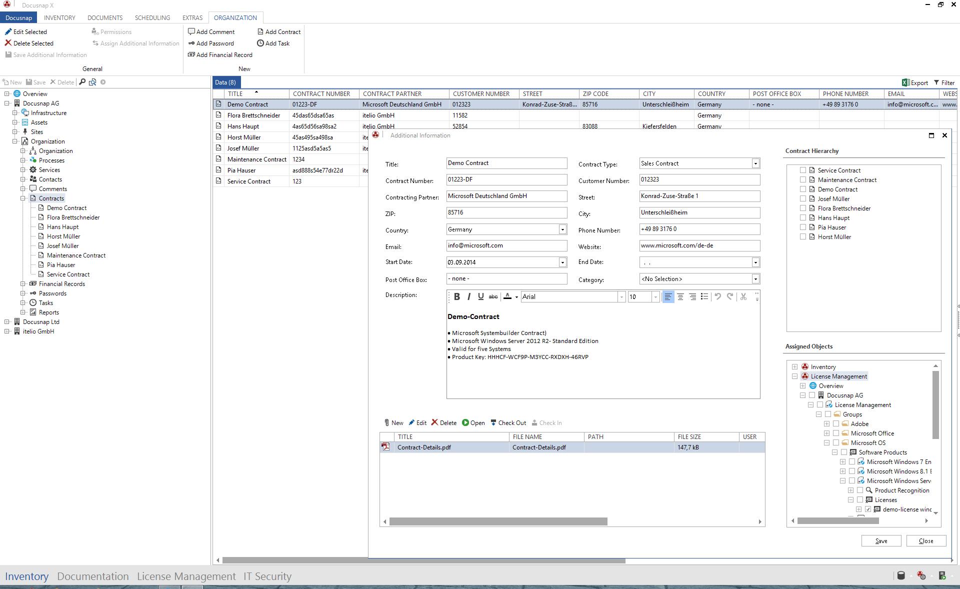 Screenshot: Contract Management