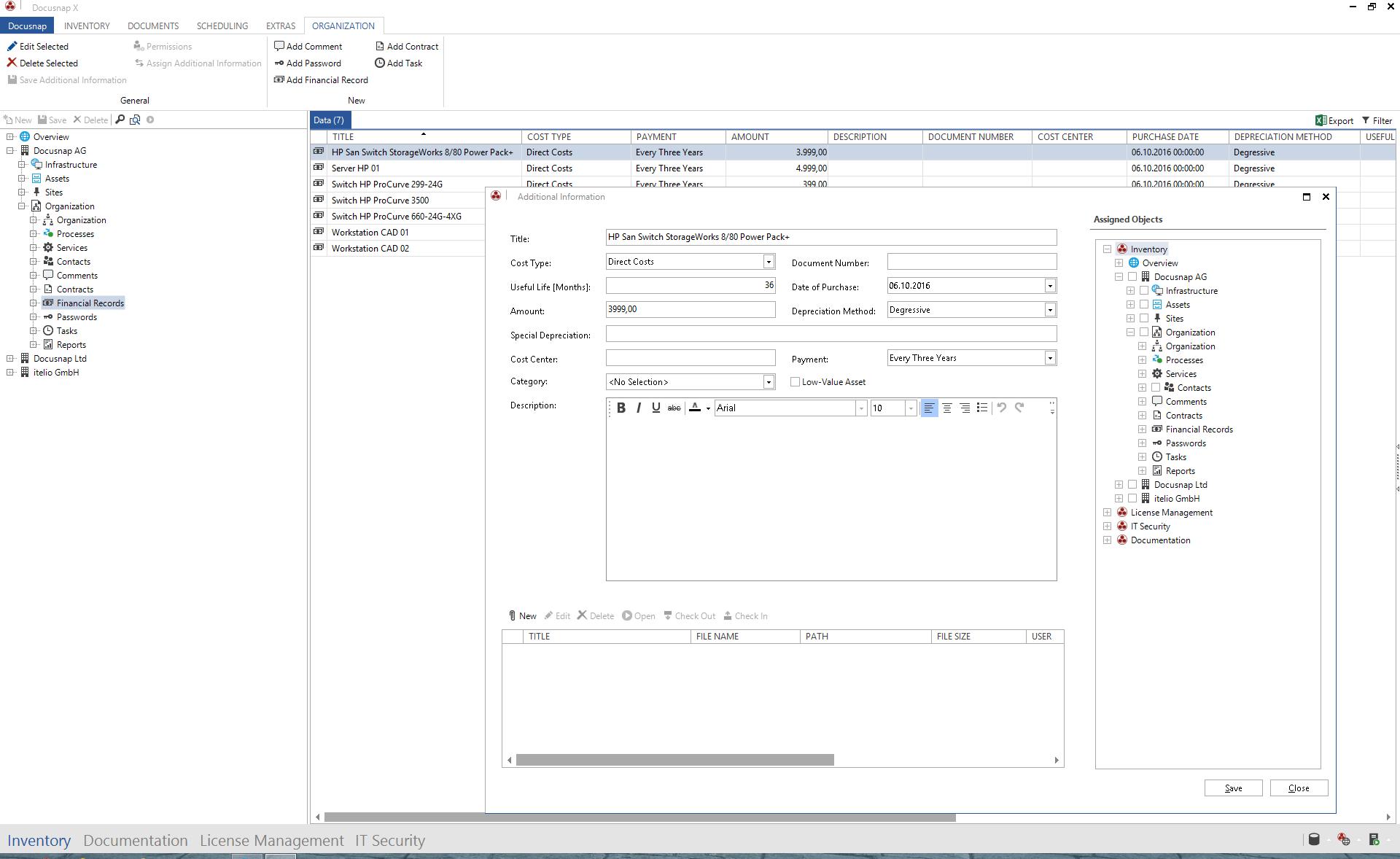 Screenshot: Financial Documents