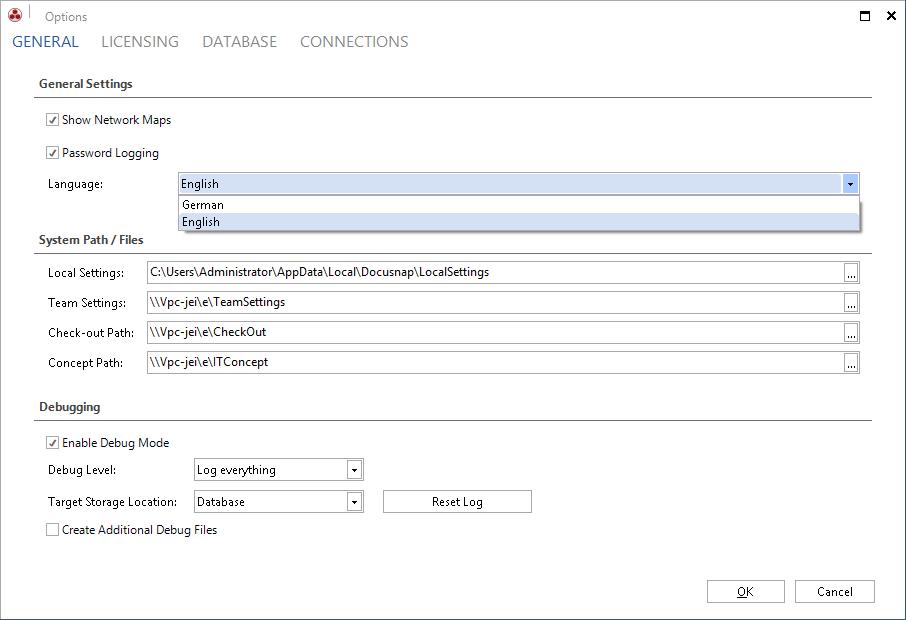 Screenshot: Multilingualism in Docusnap