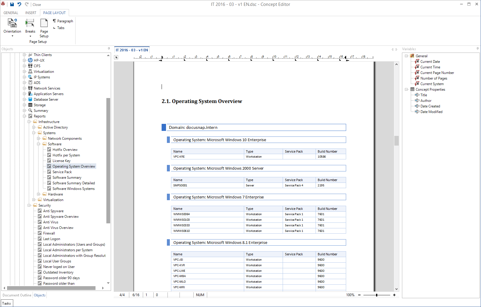 Screenshot: Overview Operating System Reports