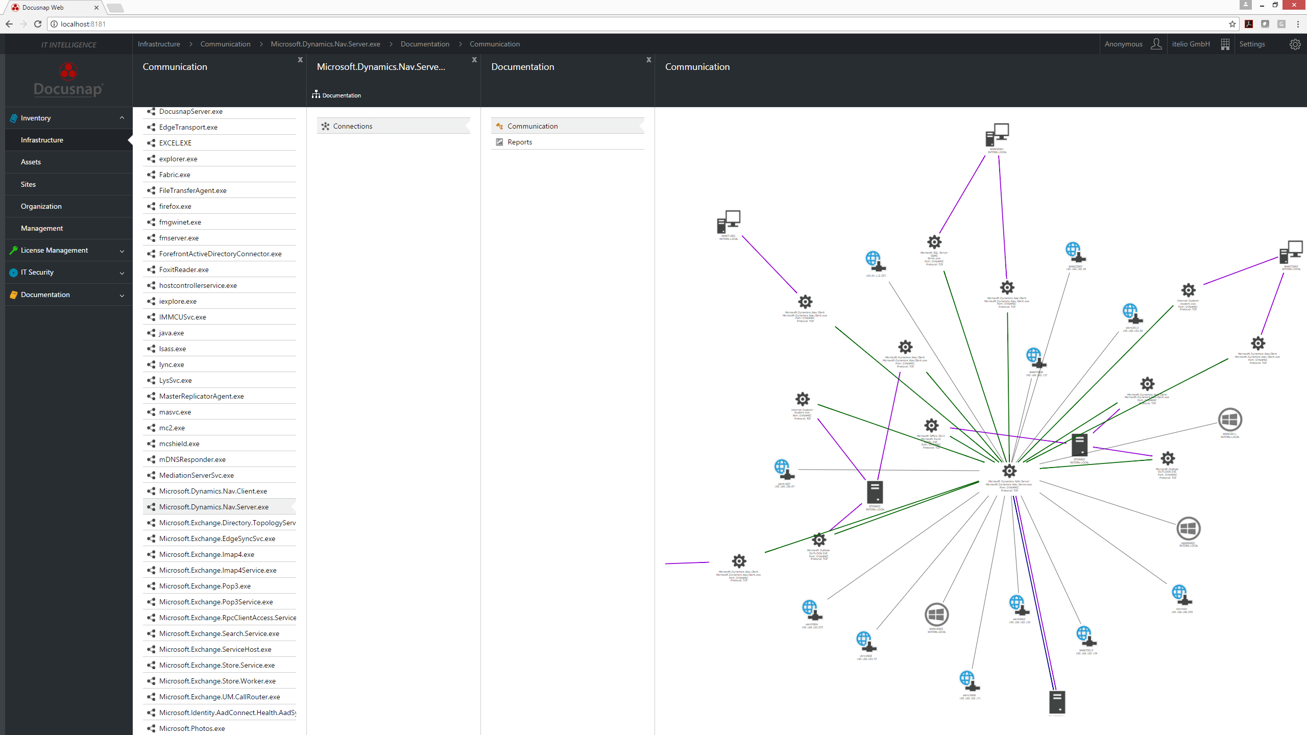 Visualization in the Docusnap Web Client showing the communication links of an application server